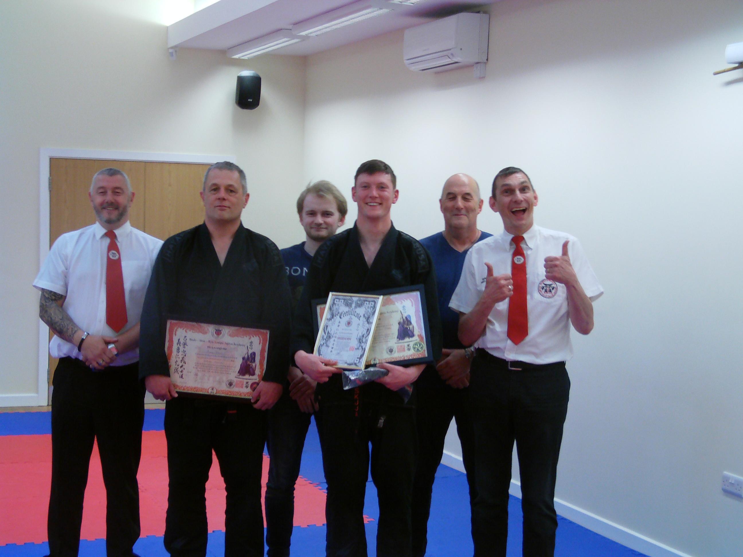 Bertie & Doc achieving their Dan grade awards.